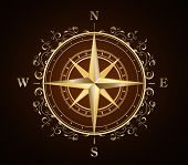 golden ornate compass rose