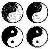 símbolo floral de ying yang