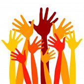 Many bright happy hands vector.