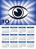 Vector de ojo sunburst calendario 2010.