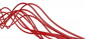 bright metallic fibre-optical red cables on a white background