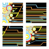 inca abstract square designs with subtle inca colours on a contrasting black background