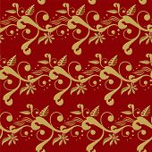 Winter red floral background with a seamless abstract design