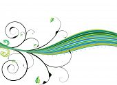 Illustrated floral design with shades of green with copy space