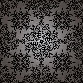 illustrated wallpaper design in with a floral theme in black