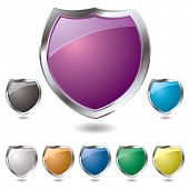 Collection of eight different colored shield with drop shadow