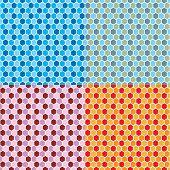 Harlekin inspiriert 70er Jahre Tapeten-Design in vier Farbvarianten