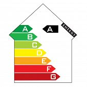 Single illustrated energy house rating with colourful arrows