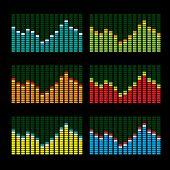 Collection of six graphic equalisers in various color variations