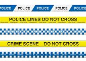 collection of five police tape with crime scene information