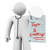 Diet And Exercise - Doctor Holding Prescription