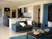 Blue Open Plan Lounge Kitchen