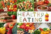 Healthy eating collage. Lots of fruits and vegetables, nuts and whole grains are included.