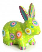 Hand painted easter bunny ornament, isolated on white.