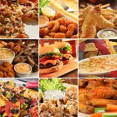 Collage of pub food including cheese burgers, wings, nachos, fries, pizza, ribs, deep fried prawns a