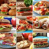 stock photo of deli  - Collage of nutritious and colorful  mouthwatering sandwiches - JPG