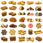 collection of freshly baked cookies,waffles,donuts and some other pastry
