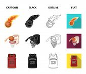 Basketball And Attributes Cartoon, Black, Outline, Flat Icons In Set Collection For Design.basketbal poster
