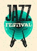 Jazz Festival Typographical Vintage Grunge Style Poster. Retro Vector Illustration. poster