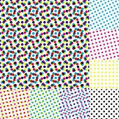 Halftone moire. Seamless vector wallpaper. All 8 samples of halftone is tiling seamlessly.