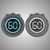 Постер, плакат: Electronic Digital Stopwatch Timer 60 Seconds Isolated On Gray Background Stopwatch Icon Set Time