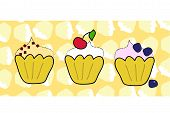 Cup cake set with muffin background