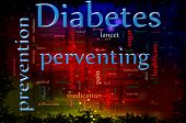 image of diabetes symptoms  - Word cloud concept illustration of Diabetes and preventing - JPG