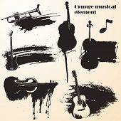 set of grunge vector - music
