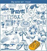 big vector set :  travel doodles