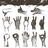 conjunto de vetores: esboçar as mãos
