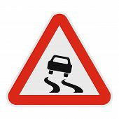 Car On Dangerous Roadside Icon. Flat Illustration Of Car On Dangerous Road  Icon For Web. poster