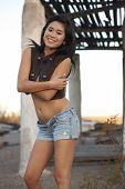 Cute Asian Girl In Desert