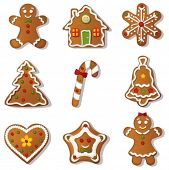 Gingerbread set.Vector