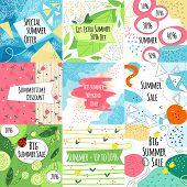 Summer Sale Vector Banners Set With Leaves And Flowers, Modern Memphis Style. Summer Sale Banner Col poster