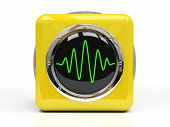 Yellow Measuring Instrument (Oscillograph) Isolated On