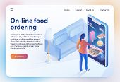 Isometric Food Ordering. Online Ordering And Fast Food Delivery Food Order Application Woman Looks M poster