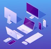 Set Of Modern Digital Devices Isometric Vectors With Laptop, Computer Monitor Or Workstation, Smartp poster