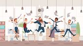 Happy Office Workers Jumping Up. Office Fun. People Work In Office. Happy Workers In Workplace. Corp poster