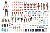 Guy On Vacation Animation Or Diy Kit. Collection Of Male Tourist Body Elements, Gestures, Clothes, T poster