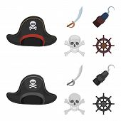 Pirate, Bandit, Cap, Hook .pirates Set Collection Icons In Cartoon, Monochrome Style Vector Symbol S poster