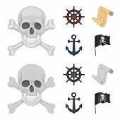 Pirate, Bandit, Rudder, Flag .pirates Set Collection Icons In Cartoon, Monochrome Style Vector Symbo poster