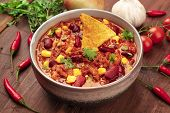 A Photo Of Chili Con Carne, A Traditional Mexican Dish With Red Beans, Cilantro Leaves, Ground Meat, poster