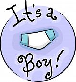 Icon Illustration Celebrating the Birth of a Boy