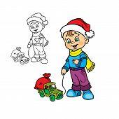 Christmasboywith a toycar