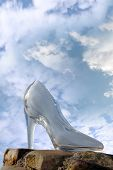 Glass High Heel Slipper On Rocky Surface