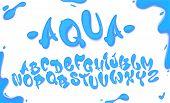 Aqua Hand Drawn Typeset, Water Alphabet, Vector Illustration. poster
