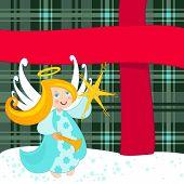 Постер, плакат: Рождественский Ангел и большой подарок