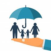 Family Protection. Insurance Concept. Vector Illustration Flat Design. Isolated On White Background. poster