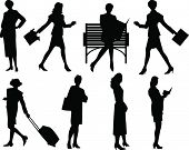 Silhouette grouping of business women. Vector Illustration