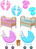 Baby Items and Foot Prints Vector Illustrations